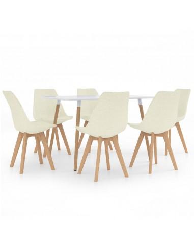 Valgomojo baldų komplektas, 7 dalių, kreminis (287242+3x324177)   Virtuvės ir Valgomojo Baldų Komplektai   duodu.lt