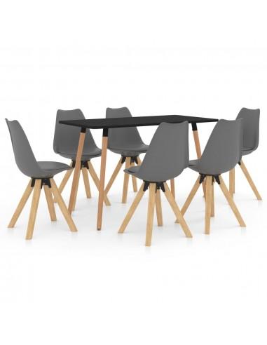 Valgomojo baldų komplektas, 7 dalių, pilkas (287243+3x324223) | Virtuvės ir Valgomojo Baldų Komplektai | duodu.lt