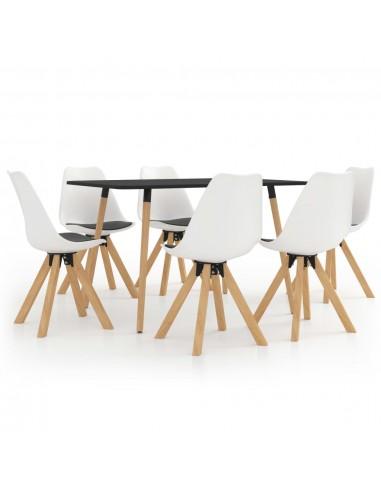 Valgomojo baldų komplektas, 7 dalių, baltos ir juodos spalvos | Virtuvės ir Valgomojo Baldų Komplektai | duodu.lt