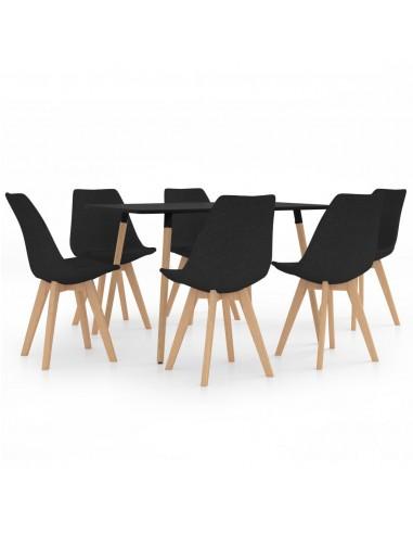 Valgomojo baldų komplektas, 7 dalių, juodas (287243+3x324167) | Virtuvės ir Valgomojo Baldų Komplektai | duodu.lt