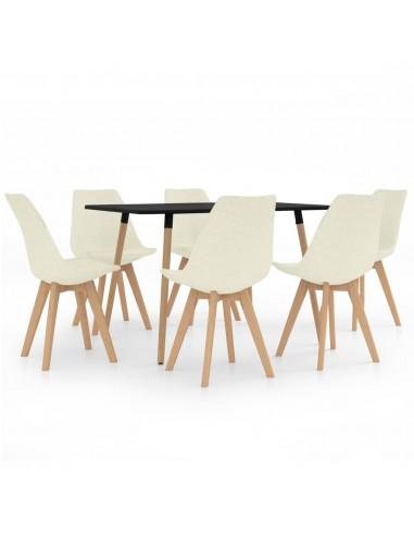 Valgomojo baldų komplektas, 7 dalių, kreminis (287243+3x324177) | Virtuvės ir Valgomojo Baldų Komplektai | duodu.lt
