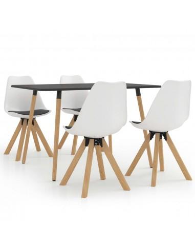 Valgomojo baldų komplektas, 5 dalių, baltos ir juodos spalvos | Virtuvės ir Valgomojo Baldų Komplektai | duodu.lt