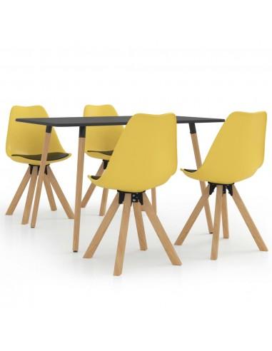 Valgomojo baldų komplektas, 5 dalių, geltonos ir juodos spalvos | Virtuvės ir Valgomojo Baldų Komplektai | duodu.lt