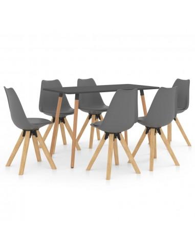 Valgomojo baldų komplektas, 7 dalių, pilkas (287244+3x324223) | Virtuvės ir Valgomojo Baldų Komplektai | duodu.lt