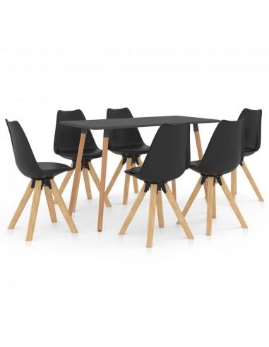 Valgomojo baldų komplektas, 7 dalių, juodas (287244+3x324225) | Virtuvės ir Valgomojo Baldų Komplektai | duodu.lt