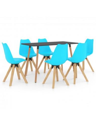 Valgomojo baldų komplektas, 7 dalių, mėlynas (287244+3x324235) | Virtuvės ir Valgomojo Baldų Komplektai | duodu.lt