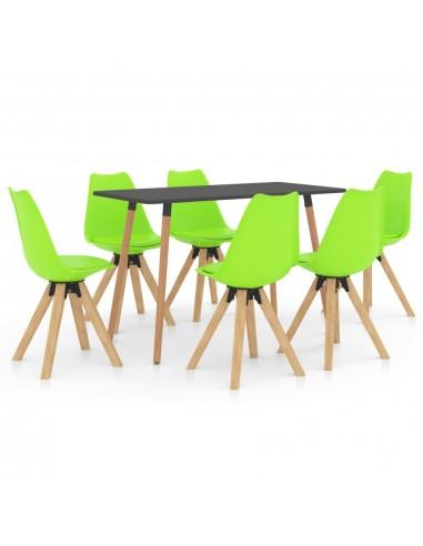 Valgomojo baldų komplektas, 7 dalių, žalias (287244+3x324237) | Virtuvės ir Valgomojo Baldų Komplektai | duodu.lt