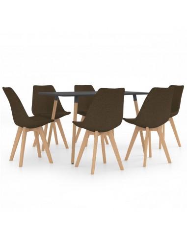 Valgomojo baldų komplektas, 7 dalių, rudas (287244+3x324163)   Virtuvės ir Valgomojo Baldų Komplektai   duodu.lt