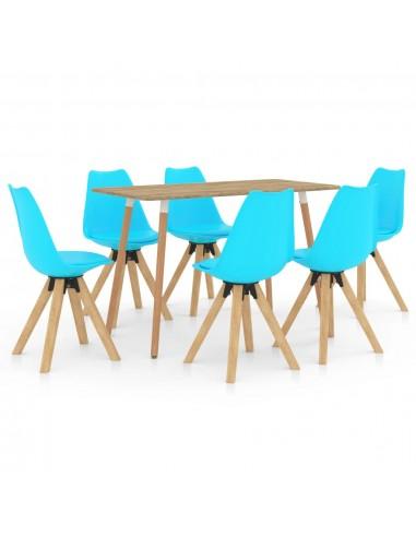 Valgomojo baldų komplektas, 7 dalių, mėlynas (287245+3x324235) | Virtuvės ir Valgomojo Baldų Komplektai | duodu.lt