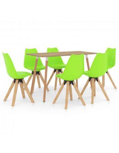 Valgomojo baldų komplektas, 7 dalių, žalias (287245+3x324237)   Virtuvės ir Valgomojo Baldų Komplektai   duodu.lt