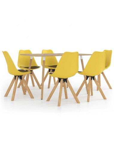 Valgomojo baldų komplektas, 7 dalių, geltonos ir juodos spalvos   Virtuvės ir Valgomojo Baldų Komplektai   duodu.lt