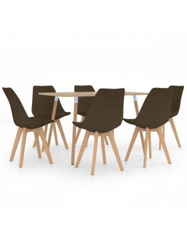 Valgomojo baldų komplektas, 7 dalių, rudas (287245+3x324163) | Virtuvės ir Valgomojo Baldų Komplektai | duodu.lt