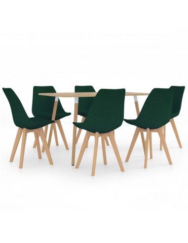 Valgomojo baldų komplektas, 7 dalių, žalias (287245+3x324171)   Virtuvės ir Valgomojo Baldų Komplektai   duodu.lt