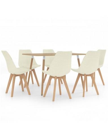 Valgomojo baldų komplektas, 7 dalių, kreminis (287245+3x324177) | Virtuvės ir Valgomojo Baldų Komplektai | duodu.lt
