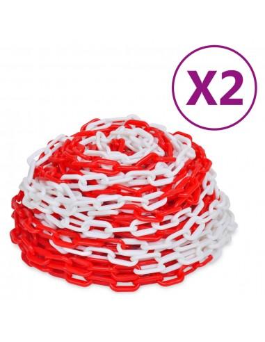 Įspėjamosios grandinės, 2vnt., raudonos/baltos, plastikas, 30m   Saugos ženklai   duodu.lt
