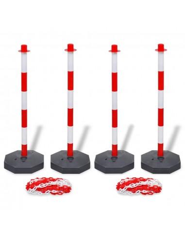 4 stulpelių ir 2 plastikinių grandinių rinkinys, kiekviena 10m | Saugos ženklai | duodu.lt
