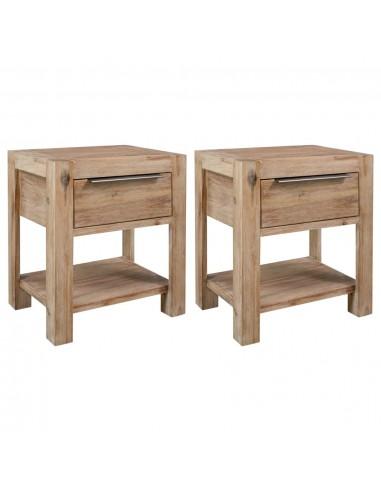 Naktiniai staliukai su stalčiais, 2vnt., 40x30x48cm, akacija   Naktiniai Staliukai   duodu.lt