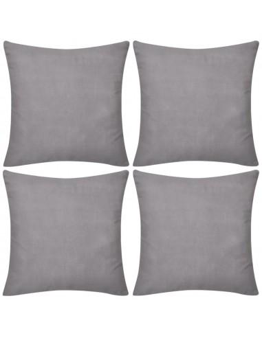 130909 4 Pilki Pagalvėlių Užvalkalai, Medvilnė, 80 x 80 cm | Dekoratyvinės pagalvėlės | duodu.lt