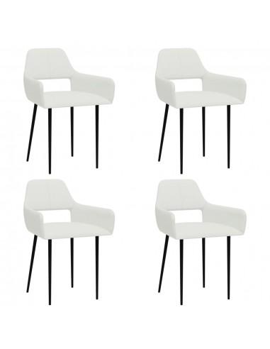 Valgomojo kėdės, 4vnt., baltos spalvos, audinys (2x322965)    Virtuvės ir Valgomojo Kėdės   duodu.lt