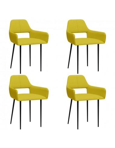 Valgomojo kėdės, 4vnt., geltonos spalvos, audinys (2x322971) | Virtuvės ir Valgomojo Kėdės | duodu.lt