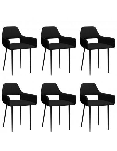 Valgomojo kėdės, 6vnt., juodos spalvos, audinys (3x322964)   Virtuvės ir Valgomojo Kėdės   duodu.lt