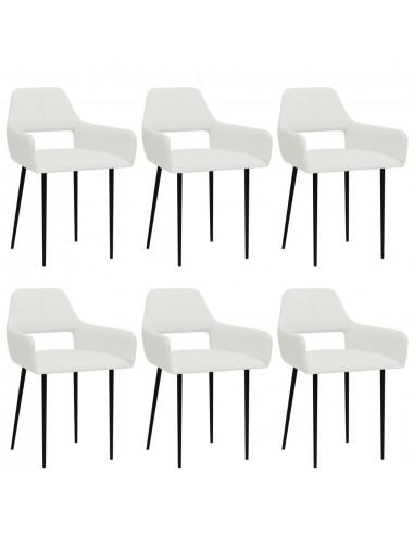 Valgomojo kėdės, 6vnt., baltos spalvos, audinys (3x322965)   Virtuvės ir Valgomojo Kėdės   duodu.lt