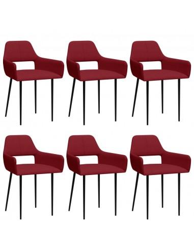 Valgomojo kėdės, 6vnt., vyno raudonos, audinys (3x322972) | Virtuvės ir Valgomojo Kėdės | duodu.lt