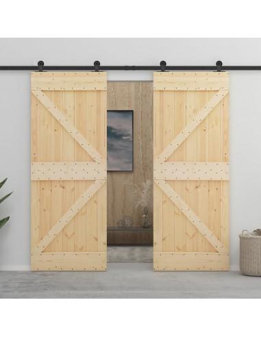 Stumdomos durys su įrangos rinkiniu, 90x210cm, pušies masyvas   Durys   duodu.lt