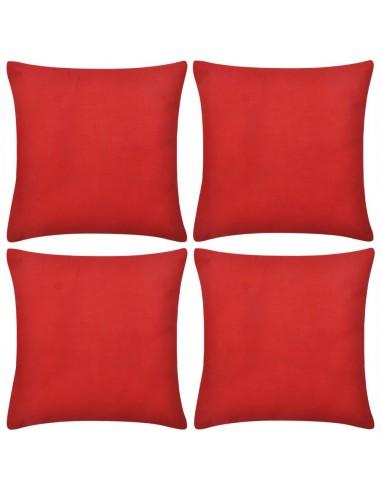 4 Raudoni Pagalvėlių Užvalkalai, Medvilnė, 40 x 40 cm   Dekoratyvinės pagalvėlės   duodu.lt