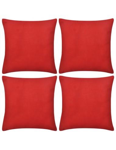 4 Raudoni Pagalvėlių Užvalkalai, Medvilnė, 50 x 50 cm | Dekoratyvinės pagalvėlės | duodu.lt