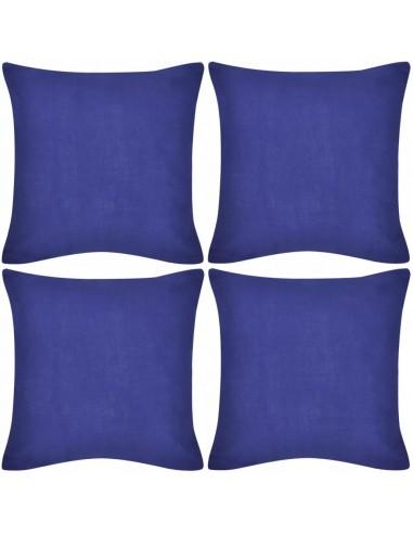 4 Mėlyni Pagalvėlių Užvalkalai, Medvilnė, 40 x 40 cm | Dekoratyvinės pagalvėlės | duodu.lt
