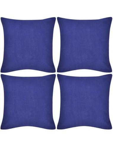 4 Mėlyni Pagalvėlių Užvalkalai, Medvilnė, 50 x 50 cm | Dekoratyvinės pagalvėlės | duodu.lt