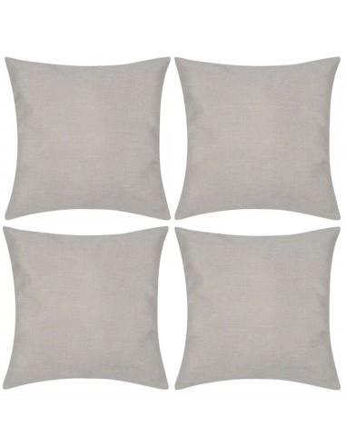 4 Smėlio Spalvos Pagalvėlių Užvalkalai, Lino Imitacija 50 x 50 cm | Dekoratyvinės pagalvėlės | duodu.lt
