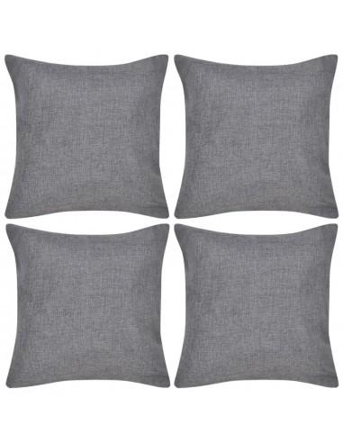 4 Antracito Spalvos Pagalvėlių Užvalkalai, Lino Imitacija, 50 x 50 cm | Dekoratyvinės pagalvėlės | duodu.lt