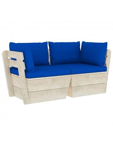 Dvivietė sodo sofa iš palečių su pagalvėlėmis, eglės mediena   Lauko Sofos   duodu.lt