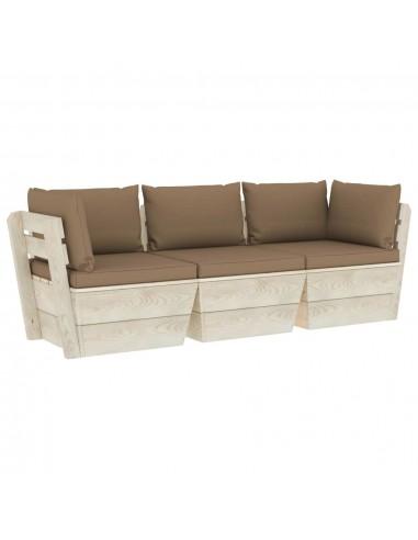 Trivietė sodo sofa iš palečių su pagalvėlėmis, eglės mediena   Lauko Sofos   duodu.lt