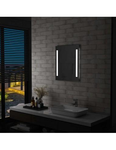 Sieninis vonios kambario LED veidrodis su lentyna, 50x70cm   Veidrodžiai   duodu.lt