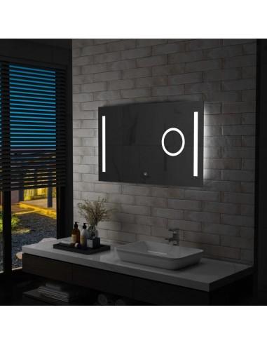 Sieninis vonios kambario veidrodis su LED ir jutikliu, 100x60cm   Veidrodžiai   duodu.lt