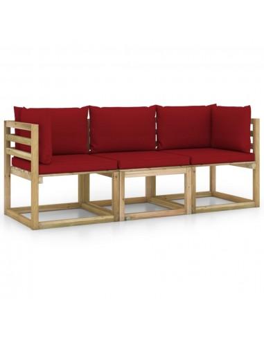 Trivietė sodo sofa su vyno raudonomis pagalvėlėmis   Lauko Sofos   duodu.lt