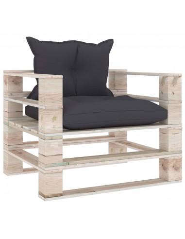 Sodo sofa iš palečių su antracito pagalvėlėmis, pušies mediena | Lauko Sofos | duodu.lt