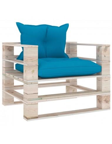 Sodo sofa iš palečių su mėlynomis pagalvėlėmis, pušies mediena | Lauko Sofos | duodu.lt
