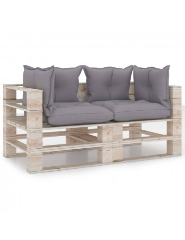 Dvivietė sodo sofa iš palečių su pagalvėlėmis, pušies mediena   Lauko Sofos   duodu.lt