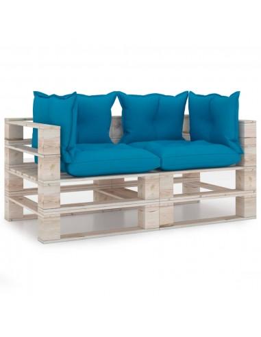 Dvivietė sodo sofa iš palečių su pagalvėlėmis, pušies mediena | Lauko Sofos | duodu.lt