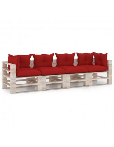 Keturvietė sodo sofa iš palečių su pagalvėlėmis, pušies mediena   Lauko Sofos   duodu.lt