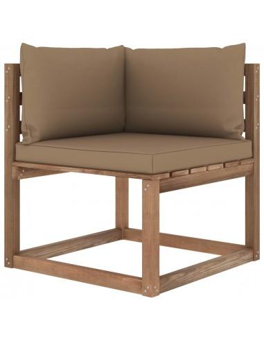 Kampinė sodo sofa iš palečių su taupe spalvos pagalvėlėmis | Lauko Sofos | duodu.lt