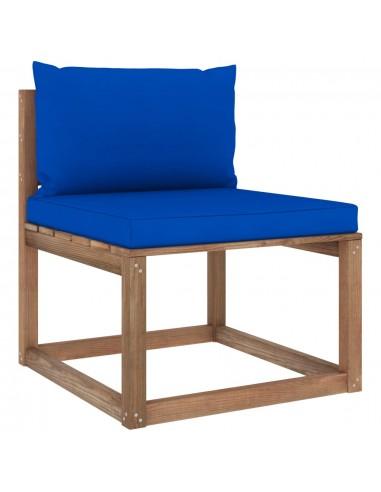 Vidurinė sodo sofos dalis iš palečių su mėlynomis pagalvėlėmis | Lauko Sofos | duodu.lt