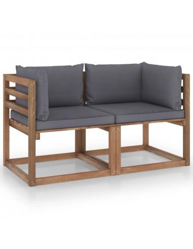Dvivietė sodo sofa iš palečių su antracito pagalvėlėmis, eglė   Lauko Sofos   duodu.lt