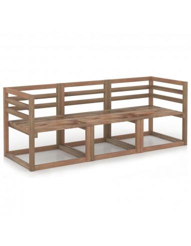 Sodo sofos iš palečių komplektas, 3 dalių, rudas, pušis | Lauko Sofos | duodu.lt