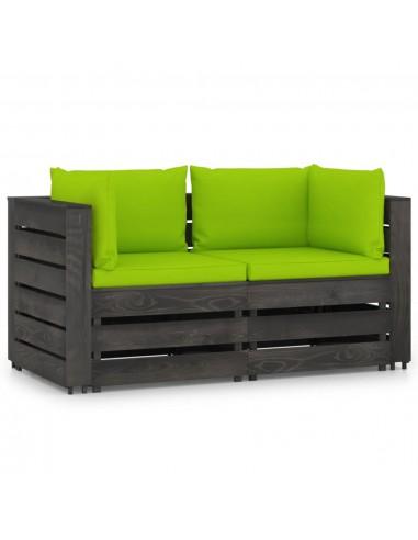 Dvivietė sodo sofa su pagalvėlėmis, pilkai impregnuota mediena   Lauko Sofos   duodu.lt