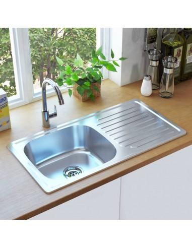 Virtuvinė plautuvė su sieteliu ir sifonu, nerūdijantis plienas | Virtuvės ir Ūkinės Paskirties Plautuvės | duodu.lt